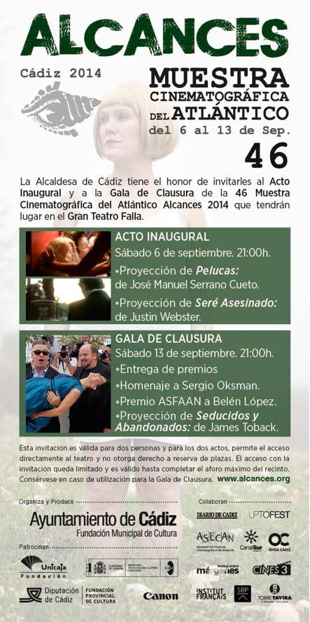 Invitación edicion 46 Muestra Cinematrográfica del Atlántico 2014